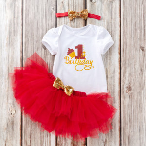 Body cu maneca scurta si fustita tutu rosie - My 1st Birthday