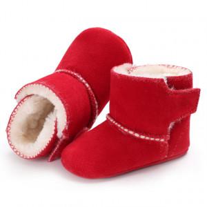 Cizmulite rosii imblanite din material tip piele intoarsa