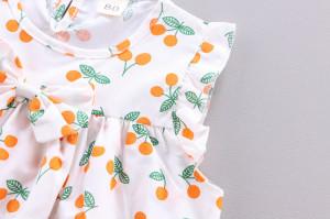 Costumas pentru fetite cu bluzita cu cirese portocalii