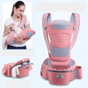 Marsupiu ergonomic cu scaunel roz cu gri