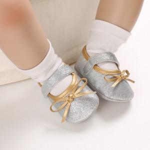 Pantofiori argintii cu fundita aurie