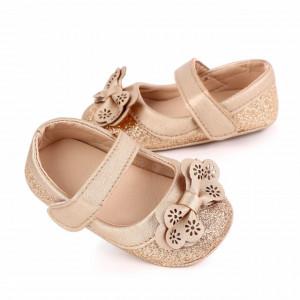 Pantofiori aurii cu sclipici si fundita