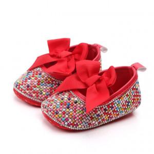Pantofiori de ocazie cu pietricele colorate si funda rosie