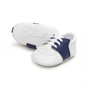 Pantofiori eleganti albi cu insertie bleumarine