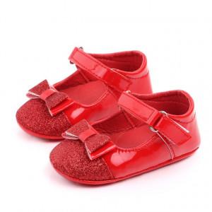 Pantofiori rosii din lac cu fundita cu sclipici