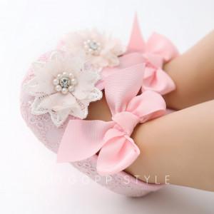 Pantofiori roz cu bentita asortata