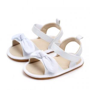 Sandale fetite albe cu fundita