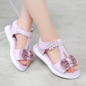 Sandale lila cu fundita cu sclipici