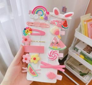 Set de 14 accesorii pentru par - Pink