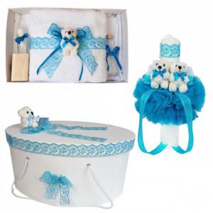 Set trusou botez, cutie trusou si lumanare, dantela si Ursuleti, decor Turcoaz, Denikos® 560