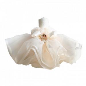 Trusou botez in landou si lumanare cu rochita si ingeras, decor ivoire Denikos® 129