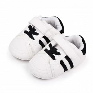 Adidasi albi cu dungi negre pentru bebelusi