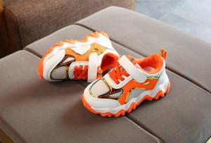 Adidasi albi cu portocaliu cu insertie cameleon