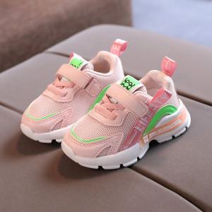 Adidasi roz cu insertie verde neon