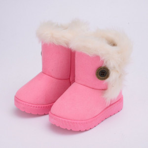 Cizme imblanite roz pentru fetite cu nasturel