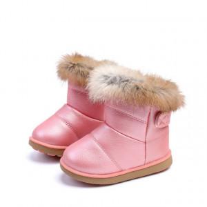 Cizme roz sidefat cu blanita