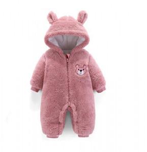 Combinezon plusat roz pudra - Teddy bear