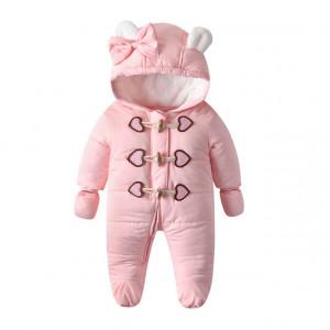 Combinezon roz din fas pentru bebelusi