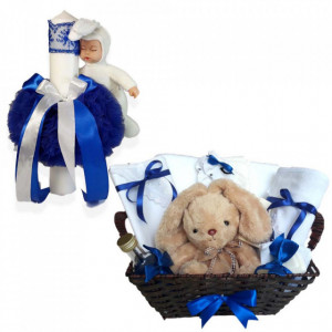 Cos cadou botez trusou si lumanare, Iepuras, decor Albastru, Denikos® 659