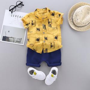 Costum bebelusi cu camasuta galben mustar