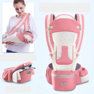 Marsupiu ergonomic cu scaunel, roz cu ivoire