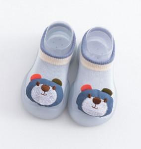 Mocasini bleu cu talpa antiderapanta - Sweet teddy