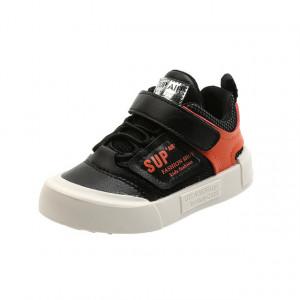 Pantofi negri cu portocaliu tip tenisi
