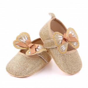 Pantofiori aurii pentru fetite - Fluturas