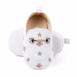 Pantofiori eleganti albi cu auriu