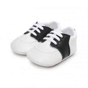 Pantofiori eleganti albi cu insertie neagra