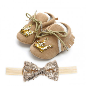 Pantofiori imblaniti maro cu bentita asortata