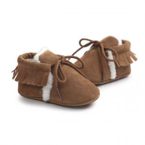 Pantofiori maro imblaniti cu franjuri