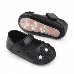 Pantofiori negri cu sclipici si floricele