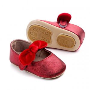 Pantofiori rosii cu fundita din catifea