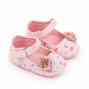 Pantofiori roz pentru fetite - Frunzulite colorate