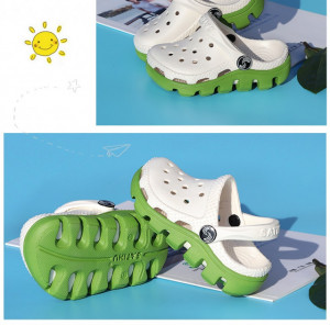 Papuci din cauciuc albi cu verde pentru copii