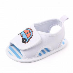 Sandalute albe pentru baietei - Masinuta