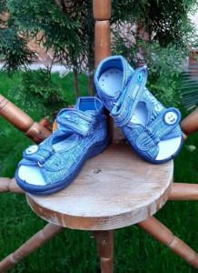 Sandalute pentru baietei din blugi - Super Boy