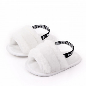 Sandalute pentru fetite albe - Pufosila