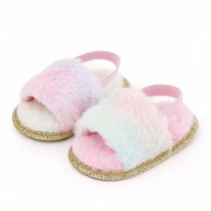 Sandalute pentru fetite - Pufosila curcubeu