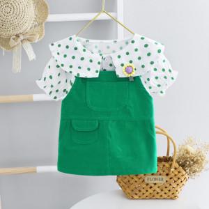 Sarafan verde cu camasuta cu buline