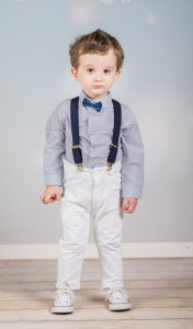 Set complet cu pantalonasi cu bretele - White and navy