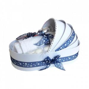 Trusou botez complet, in landou, decor cu fundita bleumarin cu floricele Denikos® 150