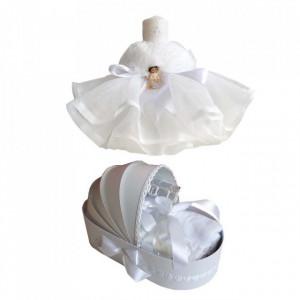 Trusou botez in landou si lumanare cu rochita si ingeras, decor alb Denikos® 128