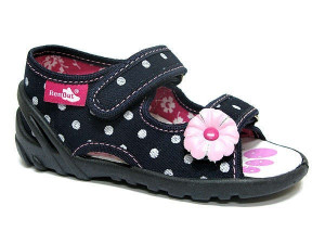 Sandalute pentru fetite - Bulinute albe cu margareta roz