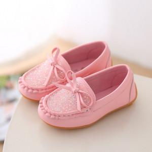 Pantofi tip mocasini roz cu pietricele