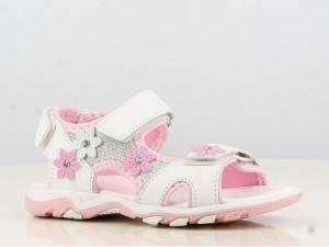 Sandale albe pentru fetite accesorizate cu floricele