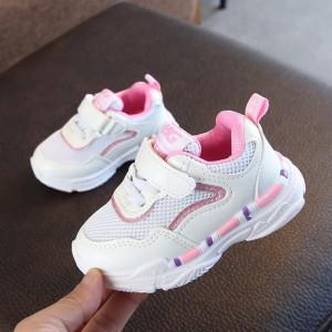 Adidasi albi cu margini roz cu sclipici
