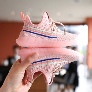 Adidasi roz cu dungi colorate pentru fetite