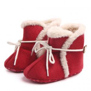 Cizmulite imblanite rosii - Warm baby boots